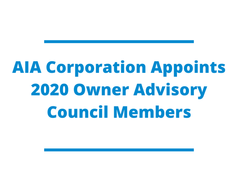 AIA Corporation Appoints 2020 Owner Advisory Council Members